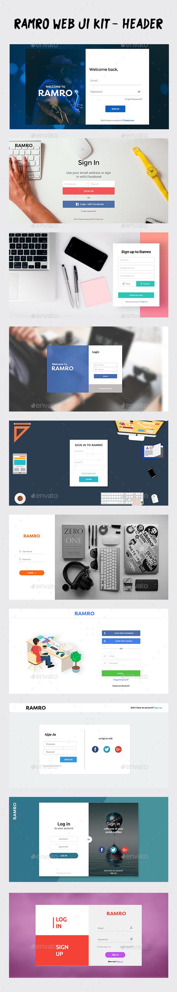 Ramro Web UI Kit - Login/Signups - User Interfaces Web Elements