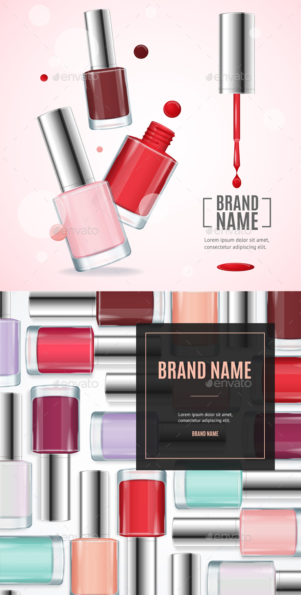Vector Gloss Colorful Nail Lacquer Ads - Conceptual Vectors