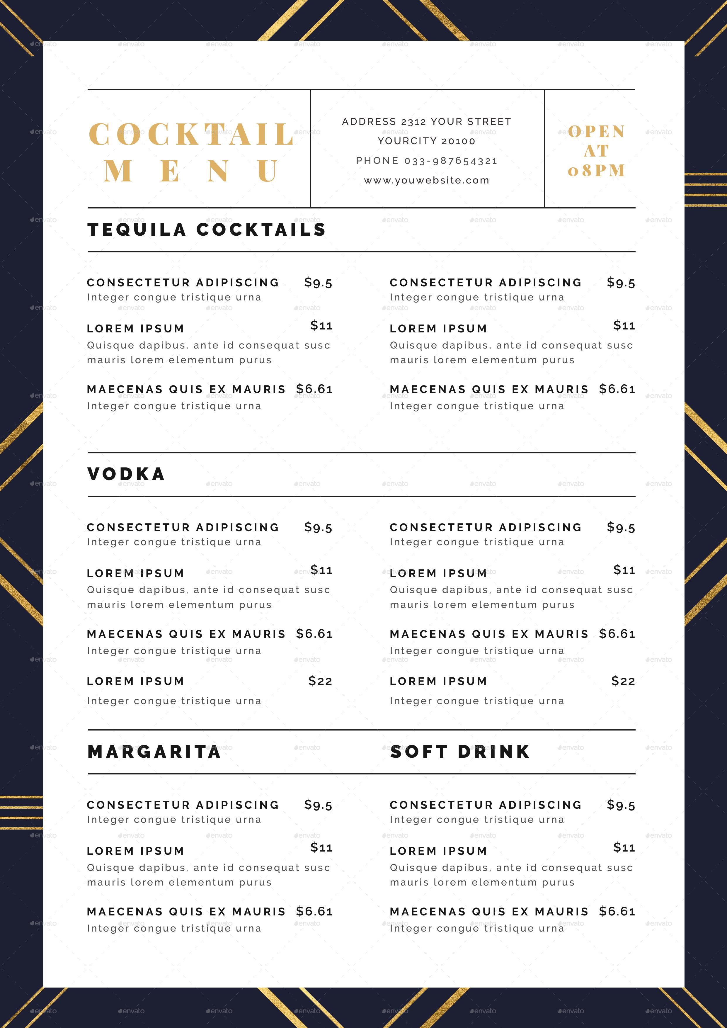 cocktail menu by infinite78910 graphicriver