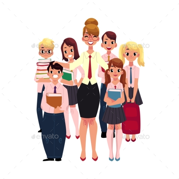 Female Teacher Surrounded By Students, Pupils - People Characters