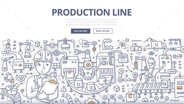 Production Line Doodle Concept - Industries Business