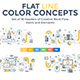 Set of Flat Line Color Banners Design Concepts
