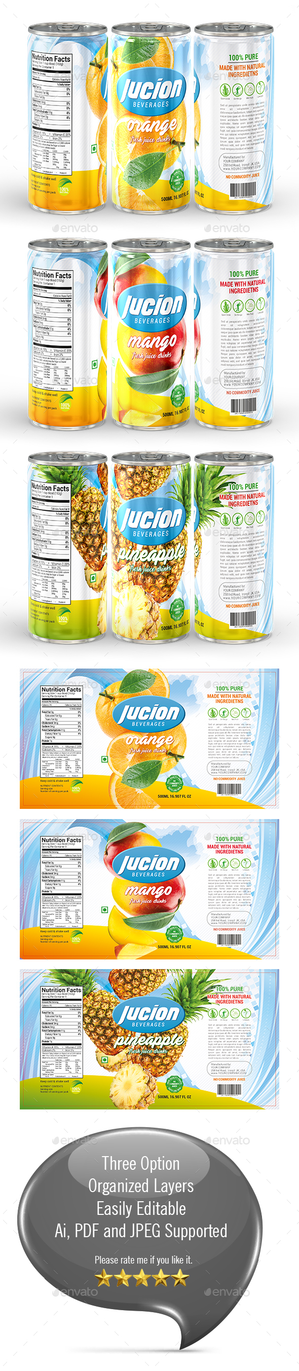 Juice Label Template - Print Templates