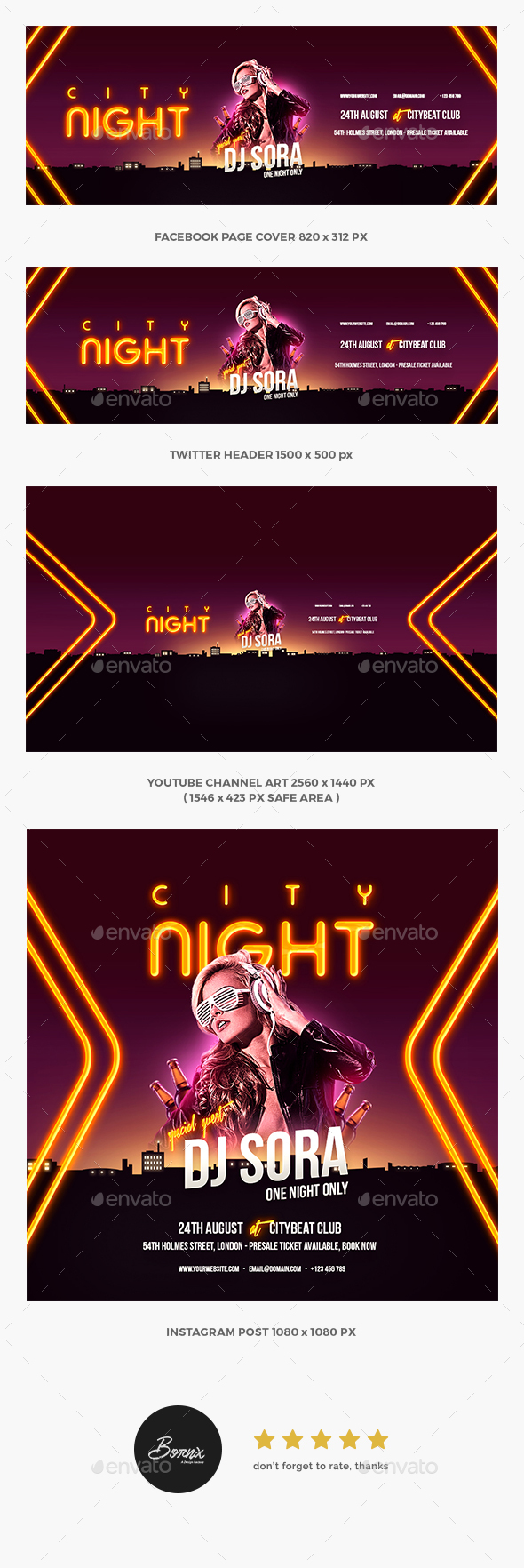 GraphicRiver City Night Party Social Media Template 20384289
