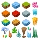 Isometric Bright Game Landscape Icons Collection