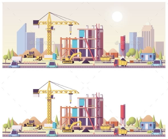 Vector Low Poly Construction Site - Buildings Objects