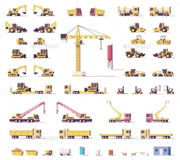 Vector Low Poly Construction Machinery - Man-made Objects Objects