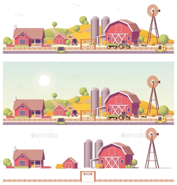 Vector Low Poly Farm - Man-made Objects Objects