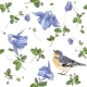 Blue Flower Bird Pattern
