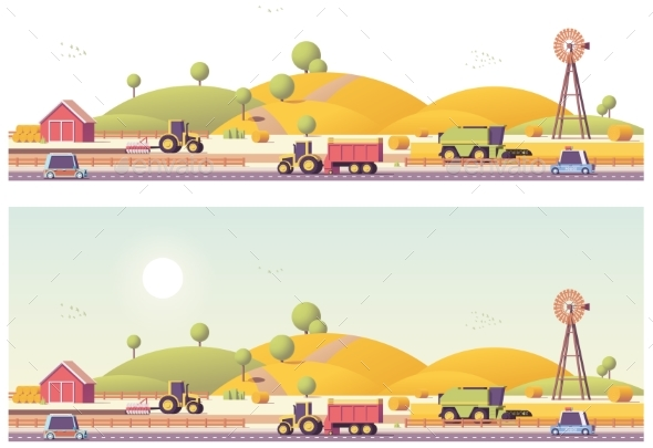 GraphicRiver Vector Low Poly Farm Field Works 20384351