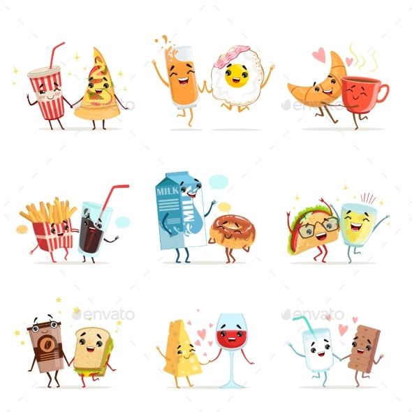 Comic Food Cartoon Characters, Best Friends - Food Objects
