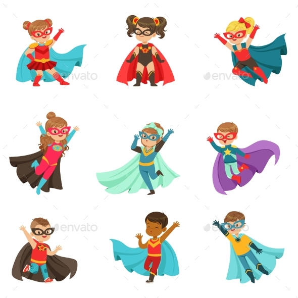 Super Kids Set, Boys and Girls in Superhero - People Characters