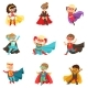 Superhero Girls and Boys Set, Kids in Superhero