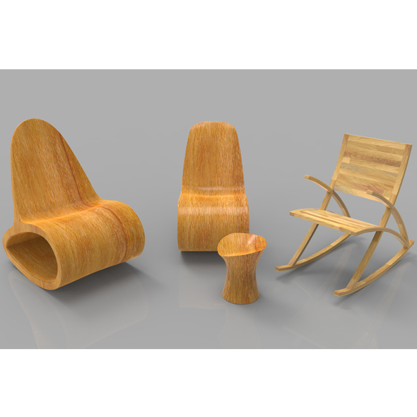 3DOcean Rocking Wooden Chair Collection 20384393
