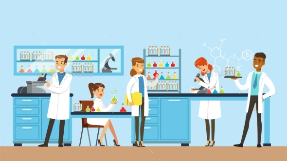 GraphicRiver Scientists Man and Woman Conducting Research 20384404