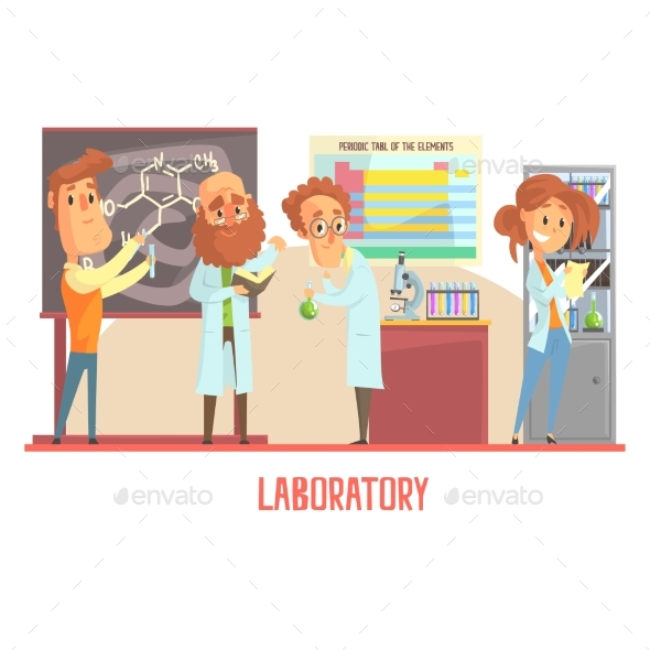 GraphicRiver Scientists Characters Conducting Research in a Lab 20384409