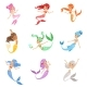 Cute Fairy Tale Mermaid Princess with Colorful