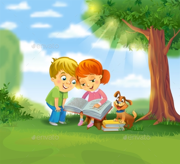 GraphicRiver Children Reading 20384617