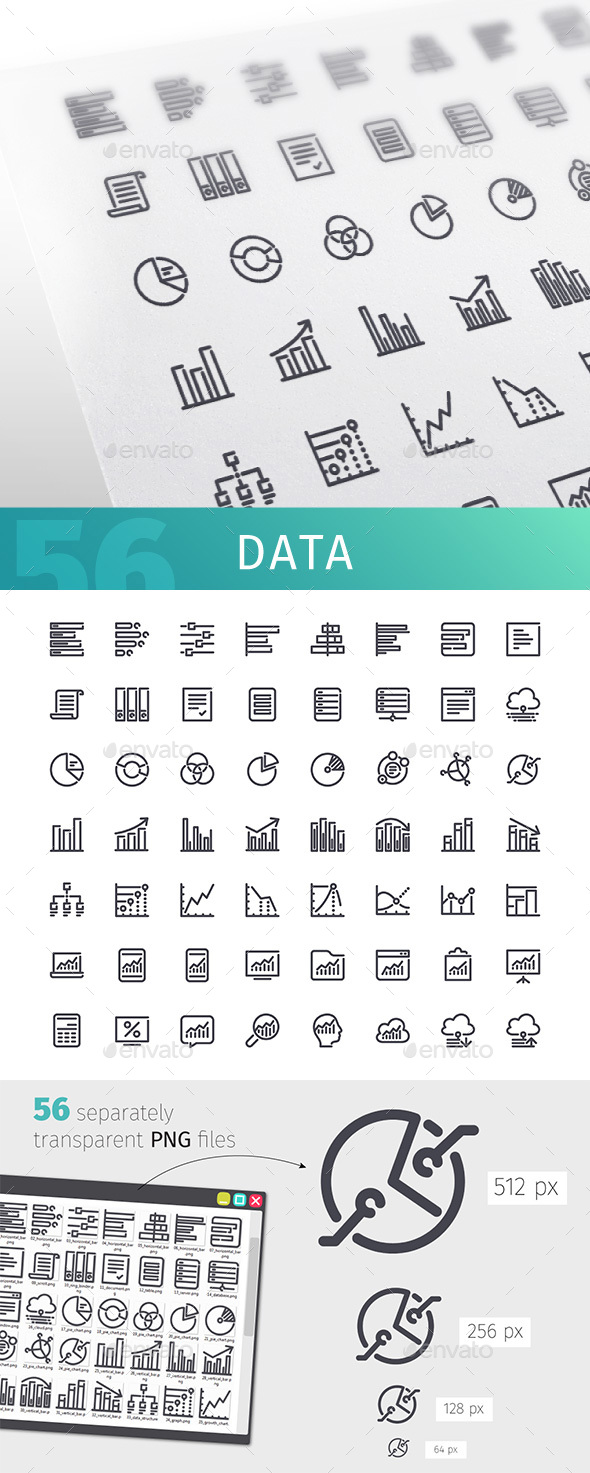 GraphicRiver Data Line Icons Set 20384631