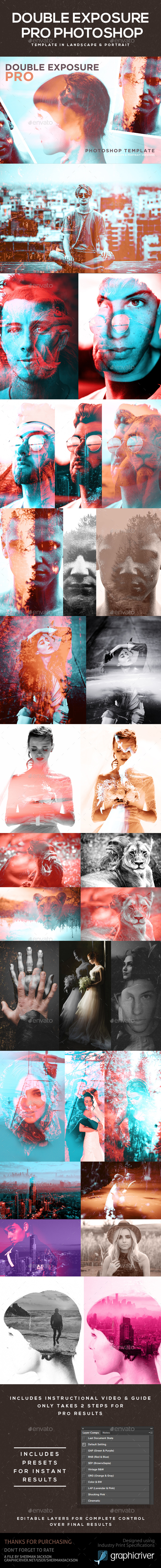 Double Exposure Pro Photoshop Template - Photo Templates Graphics