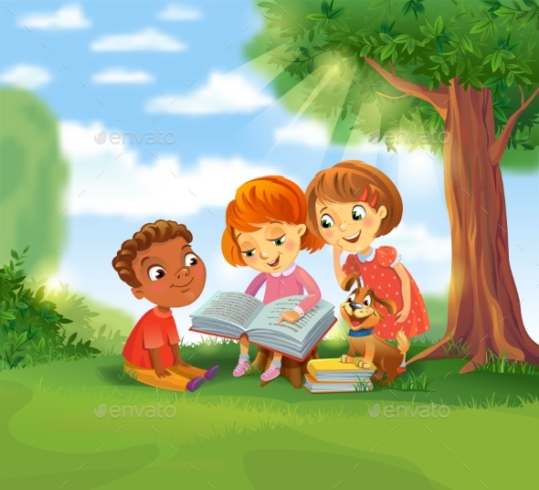 Children Reading Books - People Characters