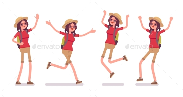 GraphicRiver Tourist Woman Positive Emotions Set 20384709