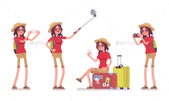 GraphicRiver Tourist Woman with Gadgets 20384712