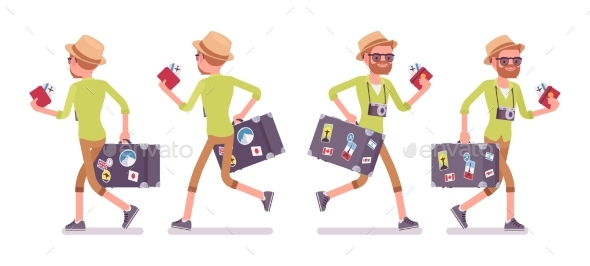 Tourist Man with Luggage Walking and Running - Travel Conceptual