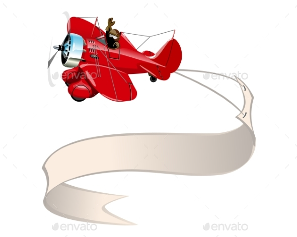 Cartoon Retro Airplane with Banner - Man-made Objects Objects