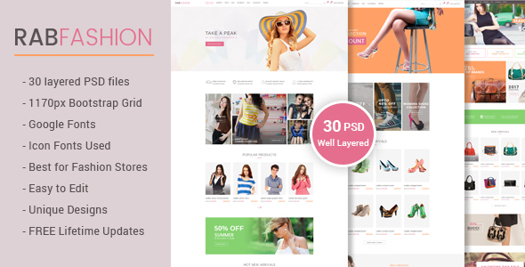 RAB - Fashion eCommerce PSD Template - Fashion Retail