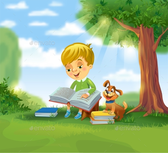 GraphicRiver Boy Reading Book 20385102
