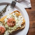 Scrambled eggs with cheese on bread, close up view - PhotoDune Item for Sale