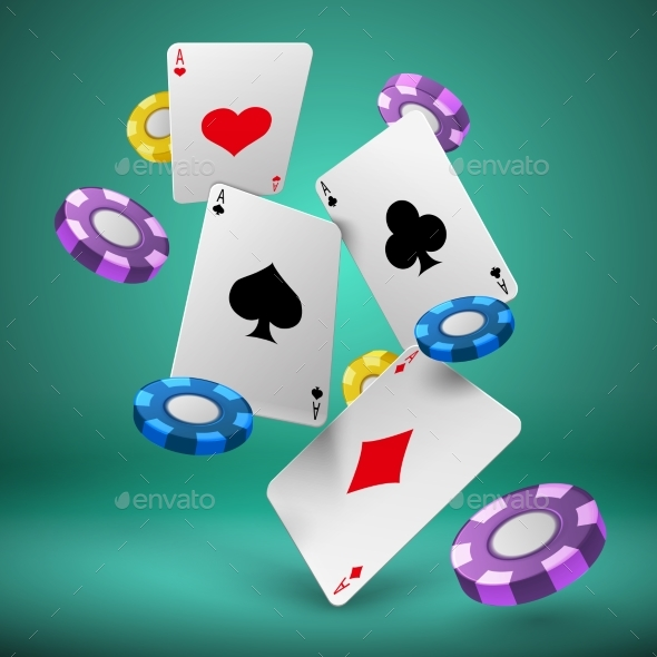 GraphicRiver Falling Playing Cards and Poker Chips Gambling 20385457