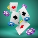 Falling Playing Cards and Poker Chips Gambling