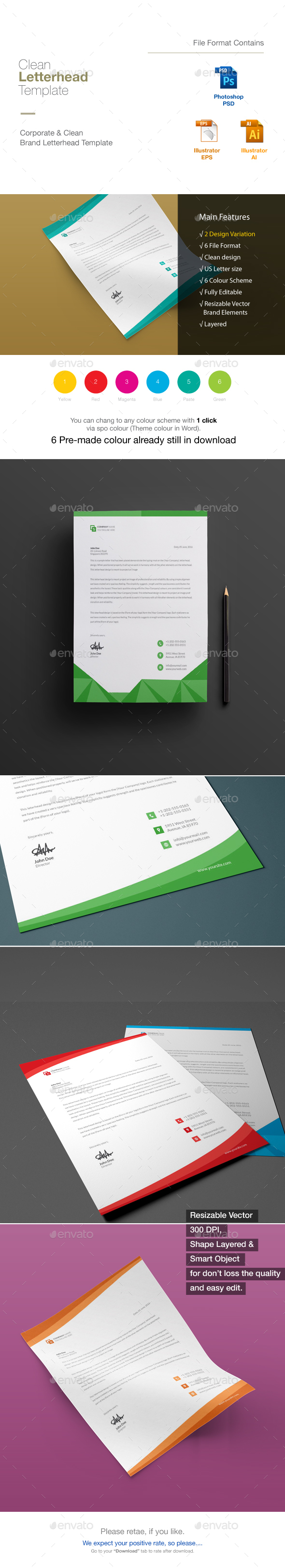 Corporate Letterhead Bundle 2 in 1 - Stationery Print Templates