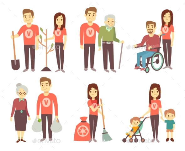 Volunteer Helping To Disabled People Vector - People Characters