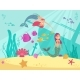 Cartoon Fairytale Underwater Vector Background