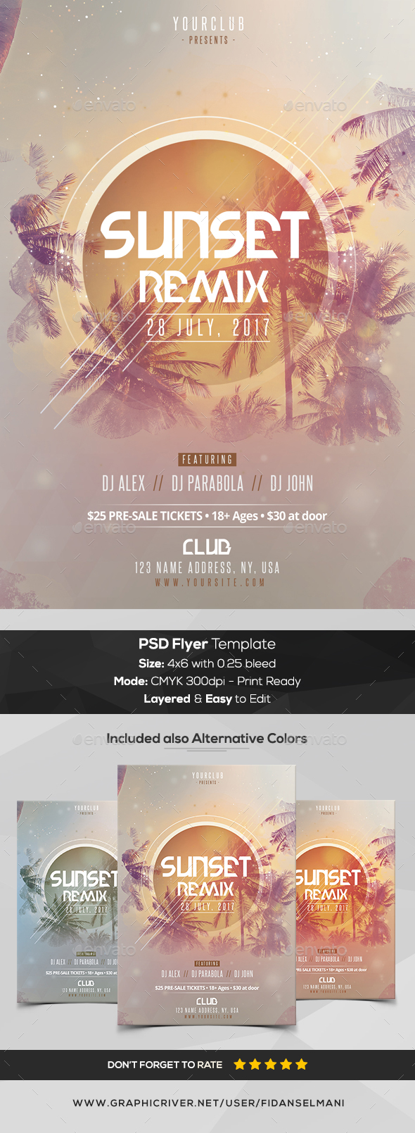 GraphicRiver Sunset Remix PSD Flyer Template 20385551