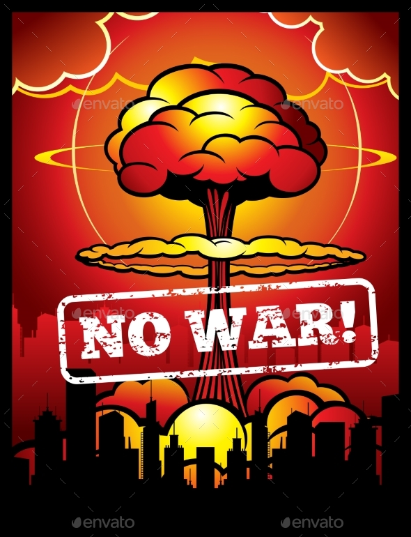 GraphicRiver Vintage No War Vector Poster with Explosion 20385626