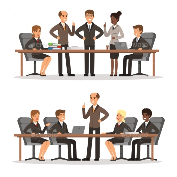 GraphicRiver Business Character at the Table in Conference Hall 20385695