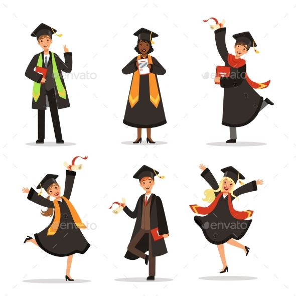 Success and Happy Students - People Characters