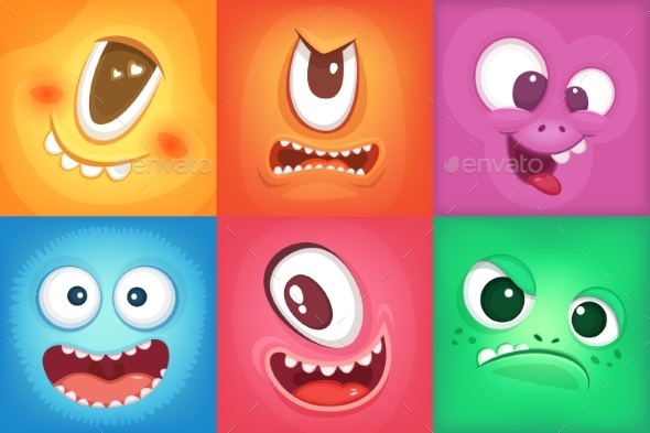 GraphicRiver Monster Cartoon Faces Demon Smiles and Big Crazy 20385733