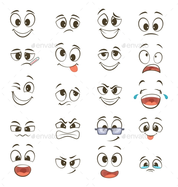 GraphicRiver Cartoon Faces with Different Expressions 20385737