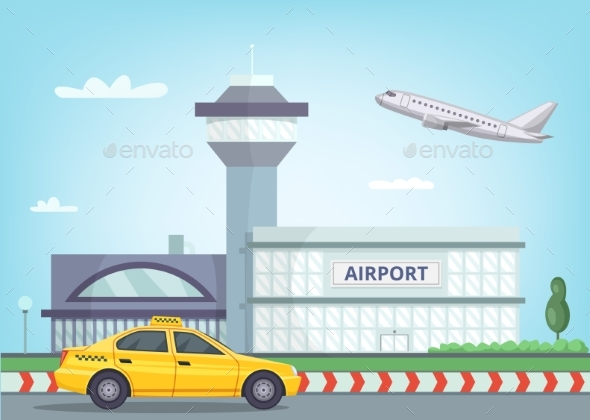 Urban Background with Airport Building, Airplane - Buildings Objects