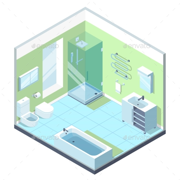 Bathroom Interior with Different Furniture - Miscellaneous Vectors