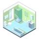 Bathroom Interior with Different Furniture