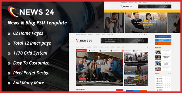 Download News24 News & Blog PSD Template nulled version