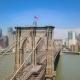 Aerial Drone View of New York Brooklyn Bridge