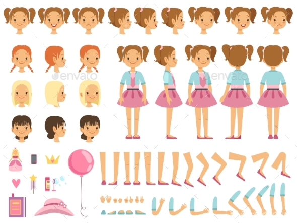 Mascot Creation Kit of Little Girl - People Characters