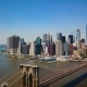 Aerial Drone View of New York Financial District of Manhattan, Brooklyn Bridge and the Hudson River